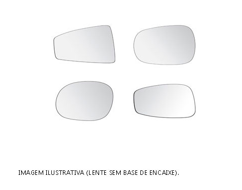 LENTE DE RETROVISOR VW FOX ESQUERDO C/BASE - LENTE DO RETROVISOR - Lado do Motorista - Cada (unidade) - <B>VW - FOX Todos os anos</B>  - Cod. SKU: 7089