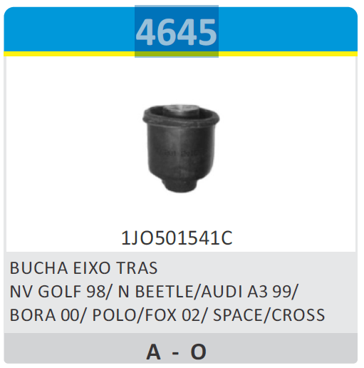 BUCHA DO EIXO TRASEIRO - BUCHAS - BORA - NV GOLF 98/ N BEETL
